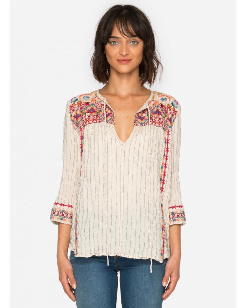 b640532e83ca7 Johnny Was Women s Kealan Mindy Stripe Boho Blouse - Country Outfitter