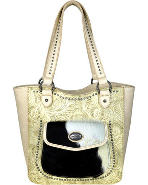 Montana West Trinity Ranch Cream Tooled Concealed Handgun Tote , Beige/khaki, hi-res