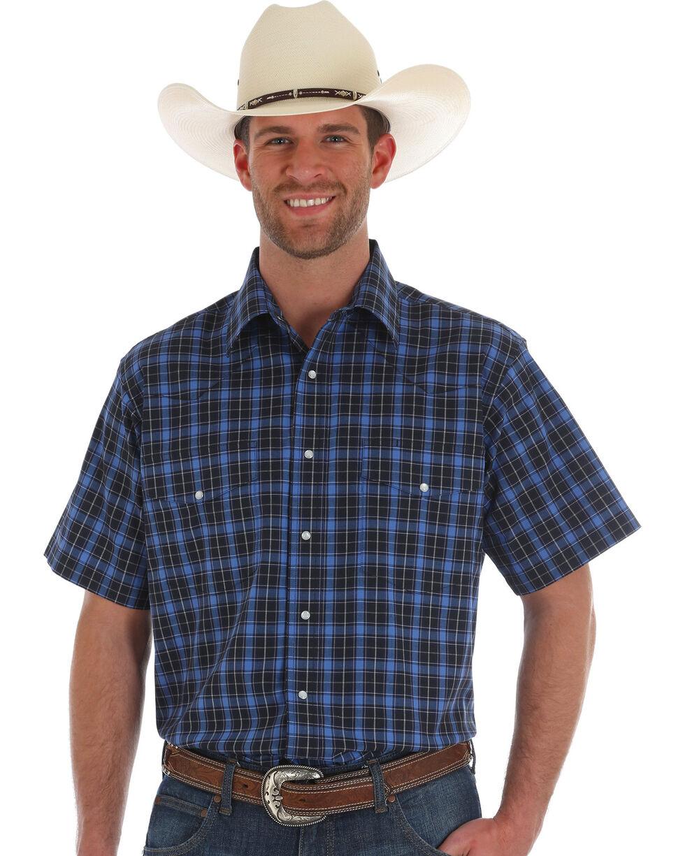 Wrangler Men's Blue Wrinkle Resistant Plaid Shirt , Blue, hi-res