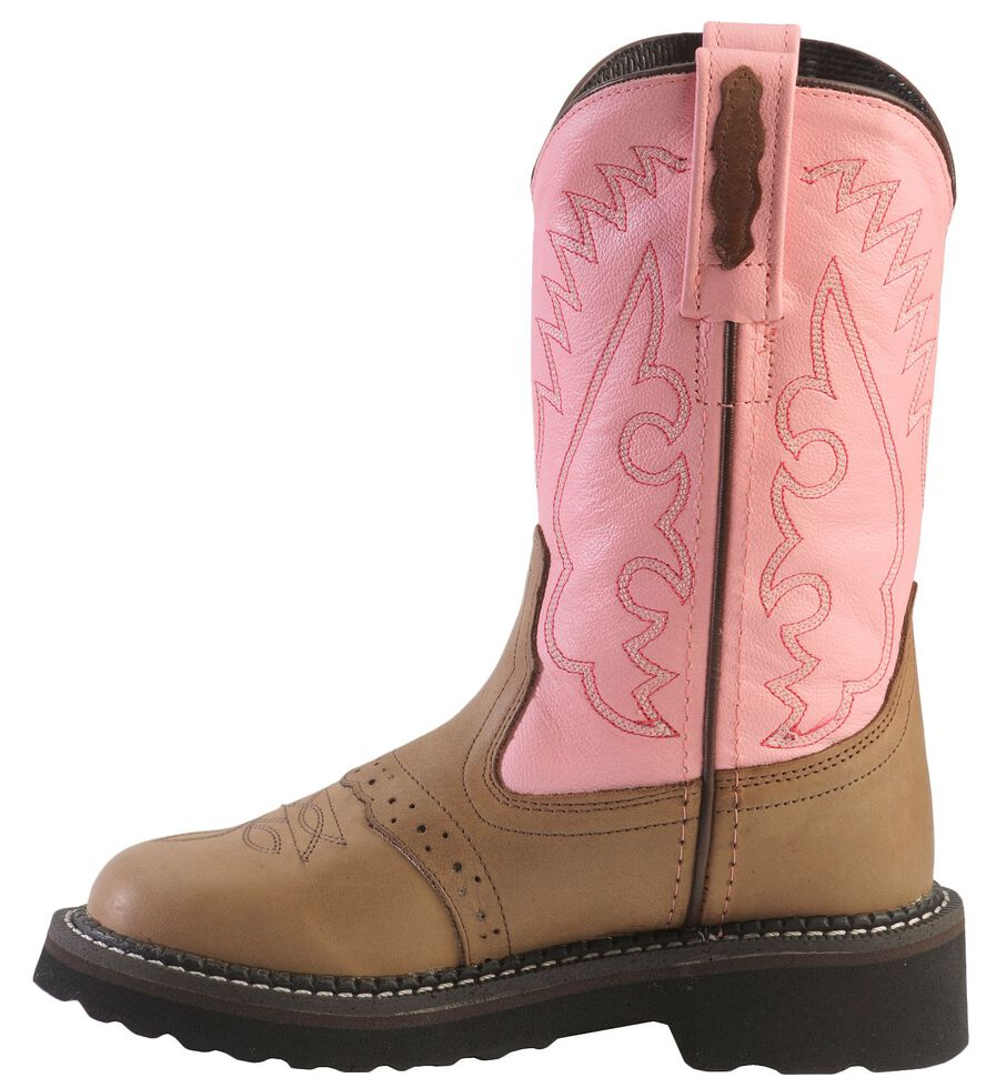 Old West Girls' Light Pink Saddle Vamp Cowgirl Boots - Round Toe, , hi-res