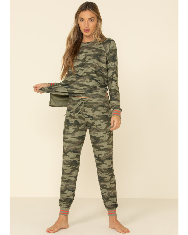 PJ Salvage Women's Camo In Command Pullover Sweatshirt , Camouflage, hi-res