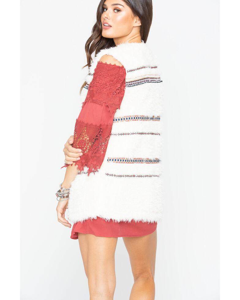 Miss Me Women's Plush Fur Vest , Ivory, hi-res