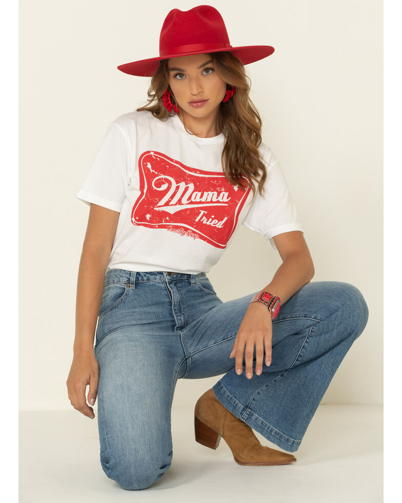 Country Deep Women's Mama Tried Graphic Tee , White, hi-res