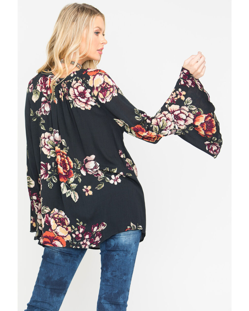 Miss Me Women's Black Floral Printed Bell Sleeve Top , Black, hi-res