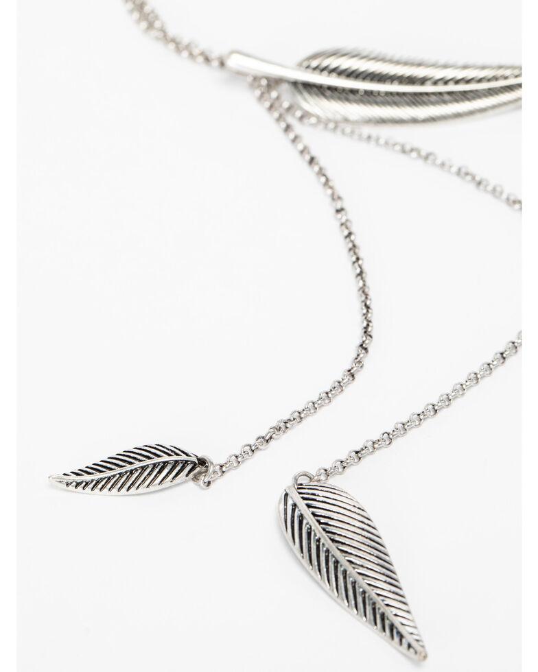 Shyanne Women's Feather Y-Necklace, Silver, hi-res