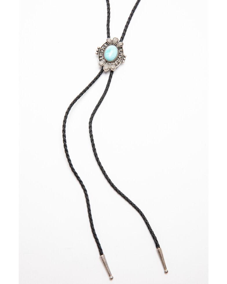 Shyanne Women's Autumn Turquoise Concho Bolo Necklace , Silver, hi-res