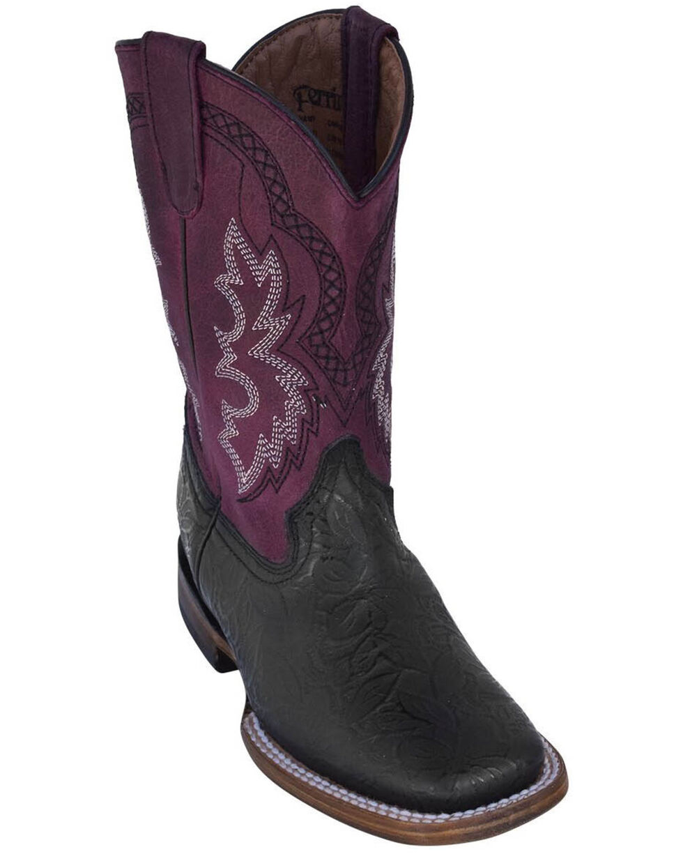 Ferrini Boys' Embossed Black Western Boots - Square Toe, Black, hi-res