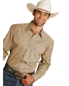 Roper Men's Amarillo Solid Poplin Snap Long Sleeve Western Shirt - Big & Tall , Brown, hi-res