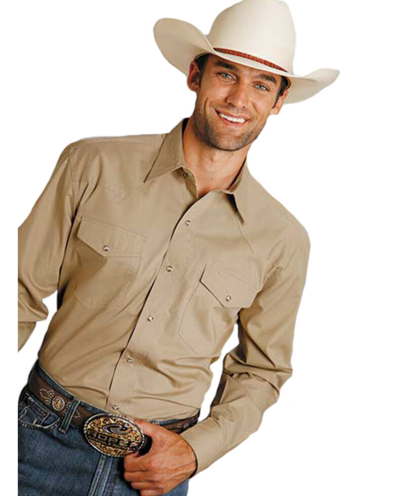 Roper Men's Amarillo Solid Poplin Snap Long Sleeve Western Shirt - Big & Tall , Brown, hi-res