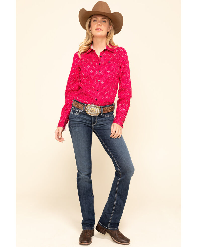 Cinch Women's Fuchsia Tile Print Button Long Sleeve Western Shirt, Dark Pink, hi-res
