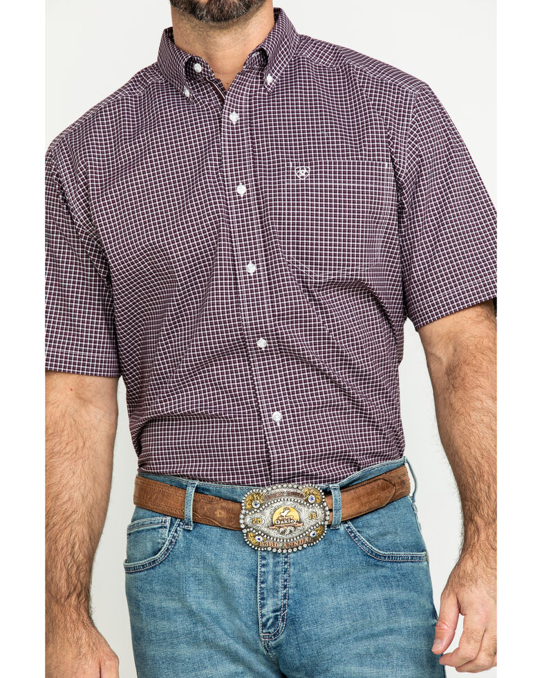 Ariat Men's Ladera Stretch Plaid Short Sleeve Western Shirt - Big , Brown, hi-res