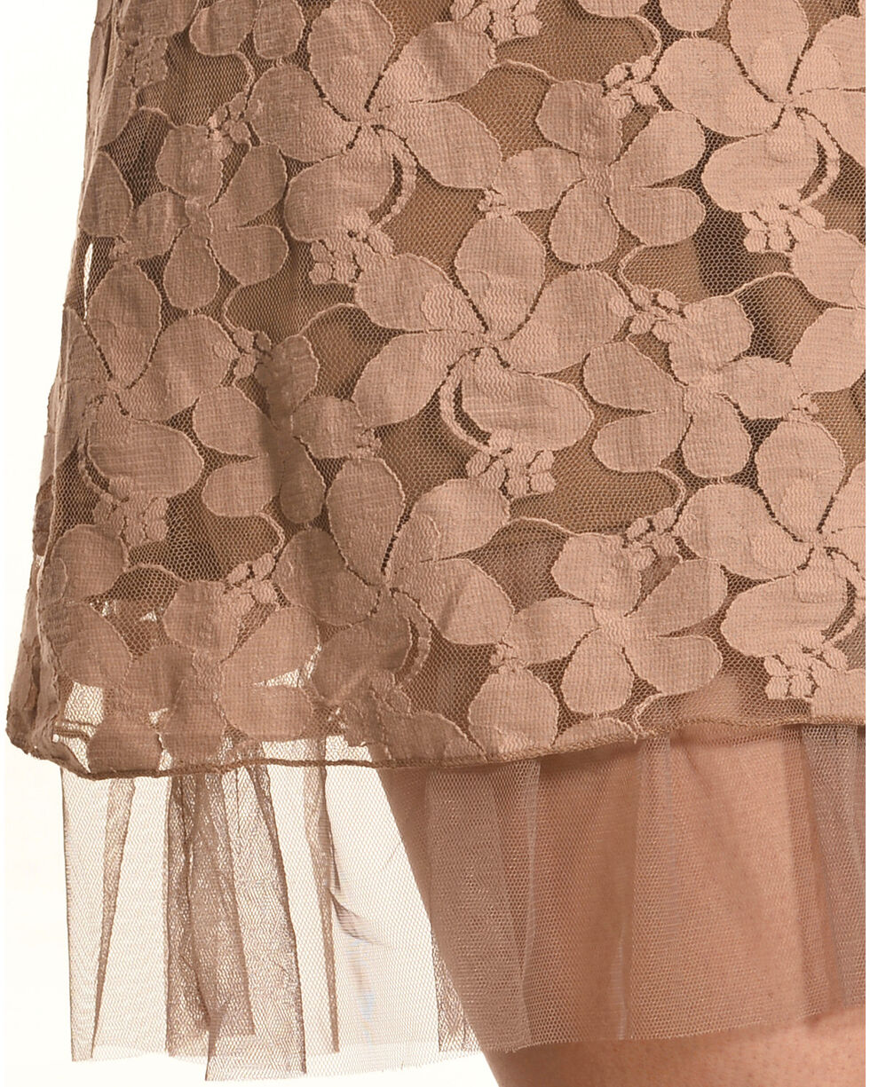 Young Essence Sleeveless Lace Floral Dress, Taupe, hi-res