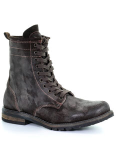Corral Men's Distressed Chocolate Lace-Up Boots - Round Toe, Chocolate, hi-res