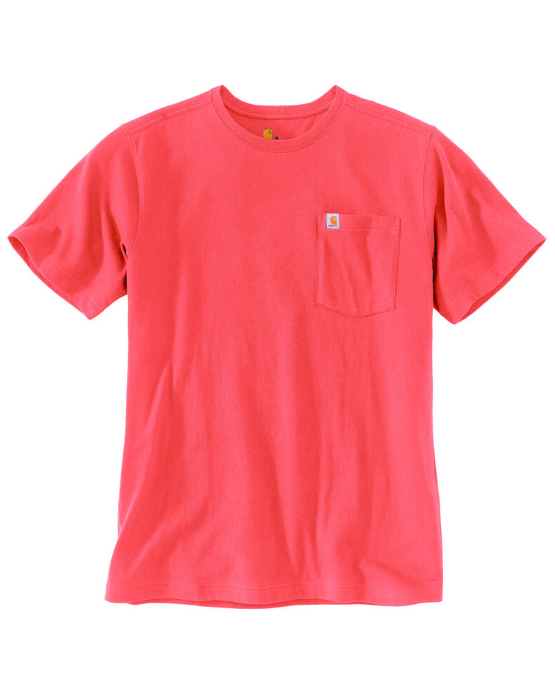 Carhartt Men's Red Clay Solid Relaxed Short Sleeve Work T-Shirt , Red, hi-res