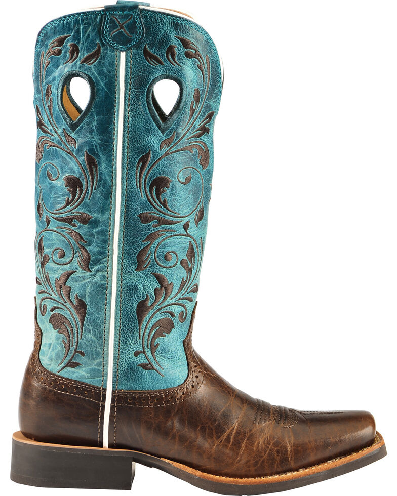 13d26871953 Twisted X Ruff Stock Turquoise Embroidered Cowgirl Boots - Square Toe