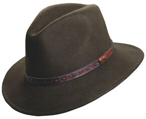 Scala Crushable Wool Outback Hat, Pecan, hi-res