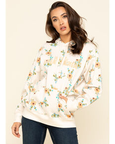 Ariat Women's R.E.A.L. Floral Cactus Hoodie, Oatmeal, hi-res