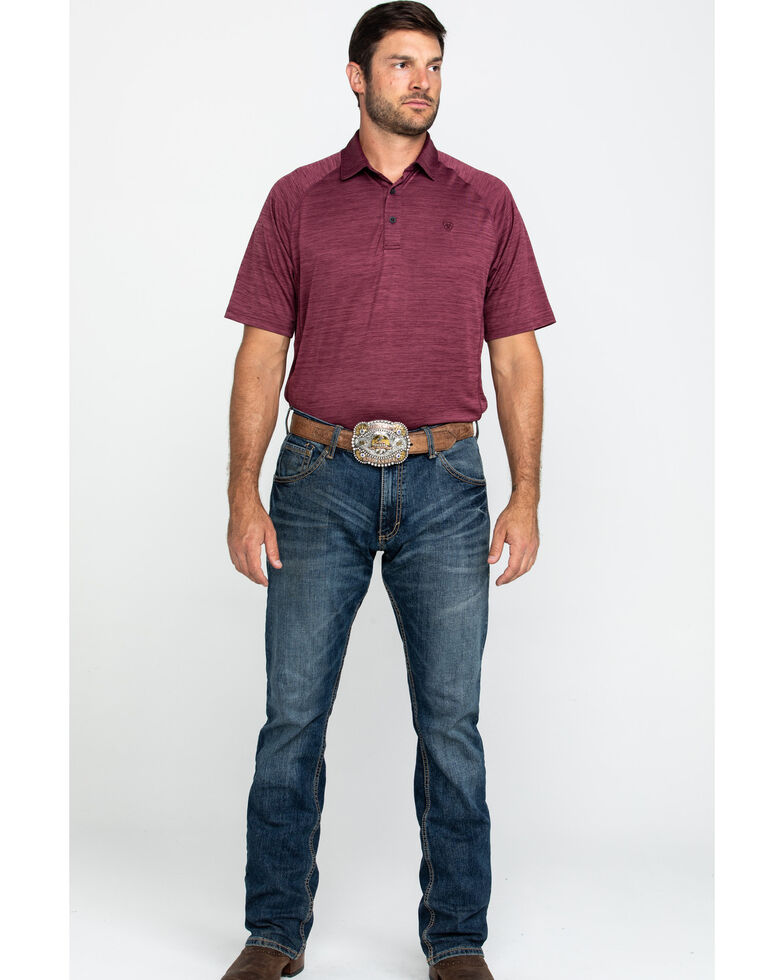 Ariat Men's Maroon Charger Short Sleeve Polo Shirt , Maroon, hi-res