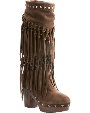 Ariat Women's Music Row Dark Brown Suede Fringe Boots - Round Toe, Dark Brown, hi-res