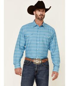 Roper Men's Turquoise Horizontal Tribal Print Long Sleeve Snap Western Shirt  , Turquoise, hi-res