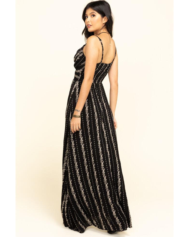 Angie Women's Black Floral Stripe Maxi Dress , Black, hi-res