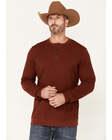 Cody James Men's Solid Brick Wander Long Sleeve Henley Shirt, Medium Red, hi-res