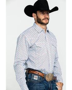 Wrangler 20X Men's Advanced Comfort Light Blue Geo Print Long Sleeve Western Shirt - Tall , Light Blue, hi-res