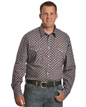 Roper Men's Paisley Long Sleeve Western Snap Shirt, Grey, hi-res