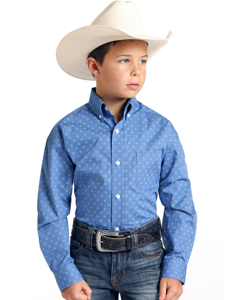 Rough Stock By Panhandle Boys' Arosa Vintage Geo Print Long Sleeve Western Shirt , Blue, hi-res