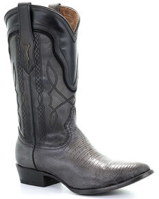 Corral Men's Grey Lizard Teju Embroidered Exotic Boots - Round Toe, Grey, hi-res