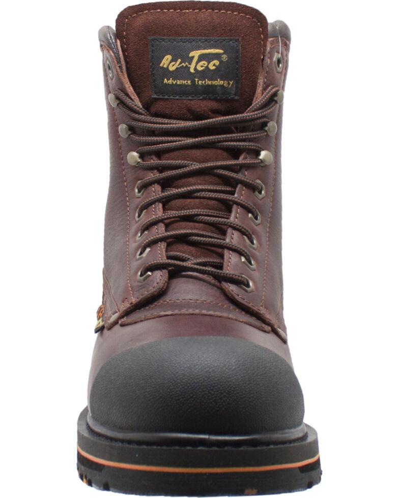 "AdTec Men's Brown 8"" Tumbled Leather Work Boots - Steel Toe , Brown, hi-res"