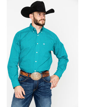 Ariat Men's Vavrick Long Sleeve Western Shirt, Teal, hi-res