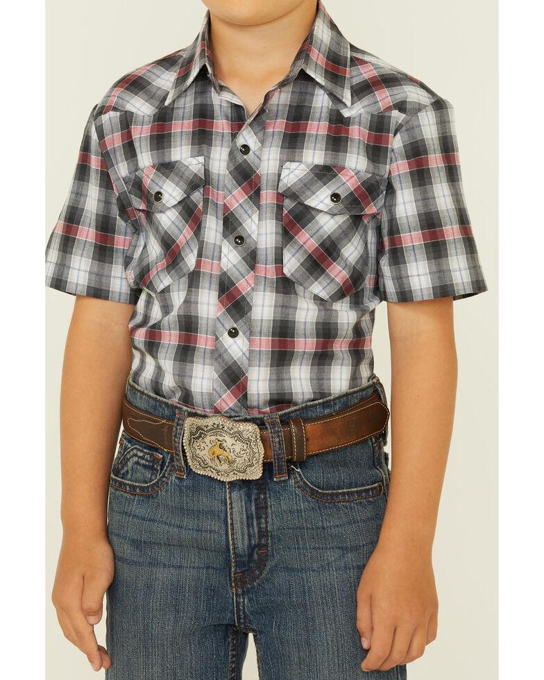 Roper Boys' Black Plaid Short Sleeve Snap Western Shirt , Black, hi-res