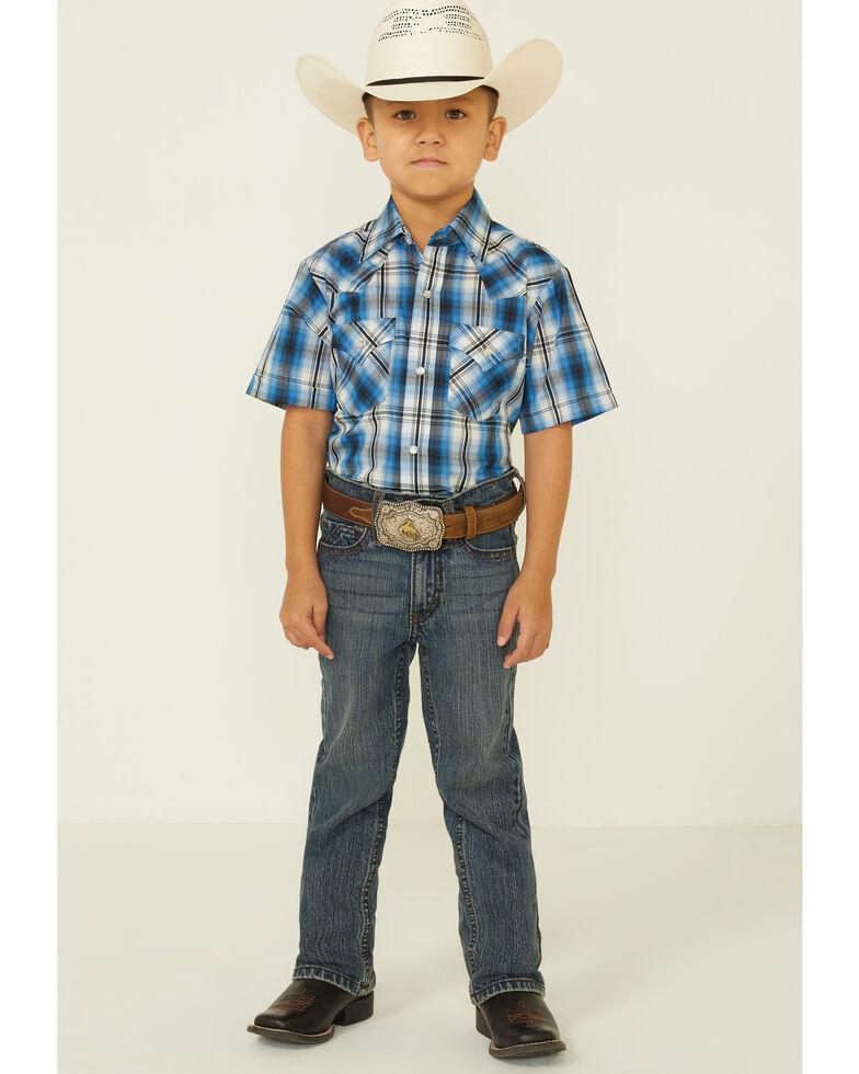 Ely Walker Boys' Blue & Black Plaid Short Sleeve Snap Western Shirt , Blue, hi-res