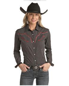 Panhandle Women's Card Geo Print Embroidered Long Sleeve Western Shirt - Plus , Black, hi-res