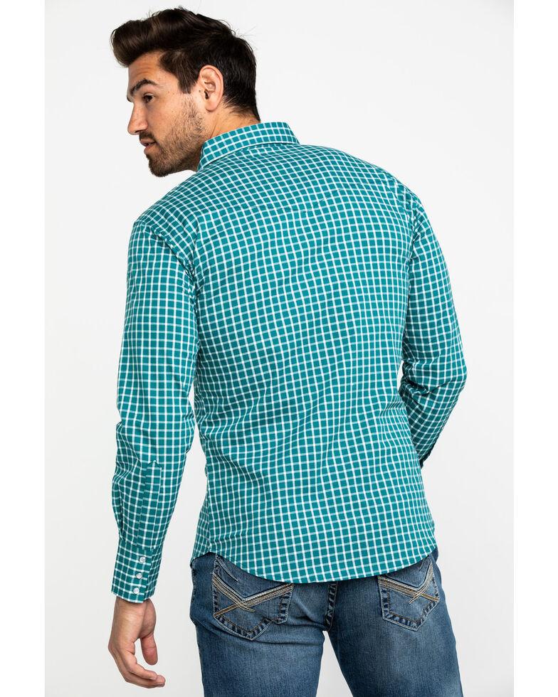 Wrangler Men's Wrinkle Resist Turquoise Small Plaid Long Sleeve Western Shirt , Turquoise, hi-res