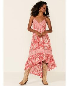 Angie Women's Red Rose Floral Border Print Maxi Dress, Rose, hi-res