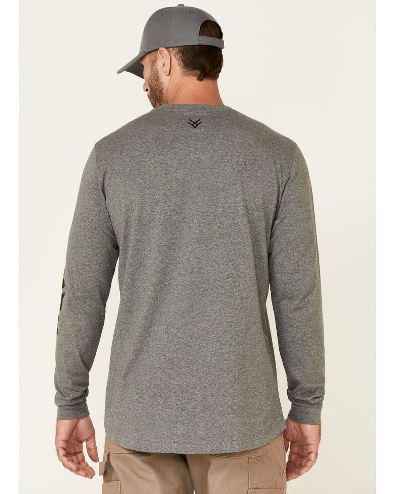 Hawx Men's Charcoal Original Logo Crew Long Sleeve Work T-Shirt - Tall , Charcoal, hi-res
