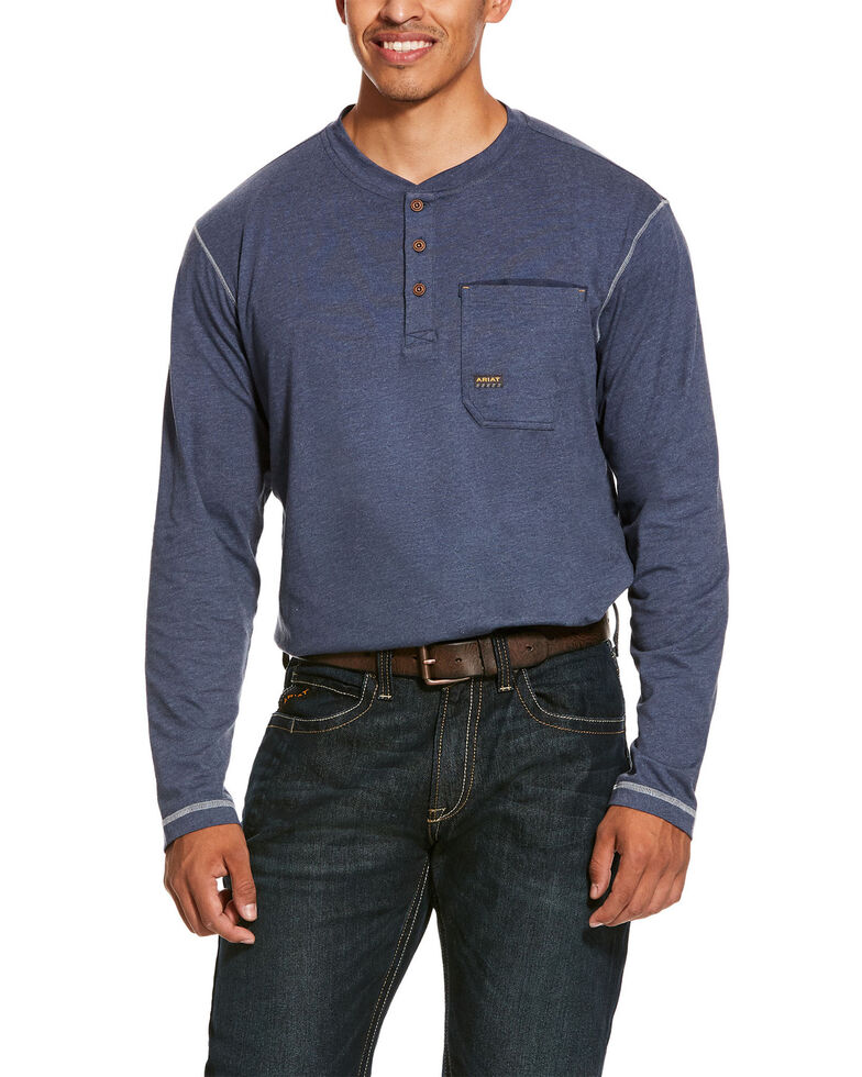 Ariat Men's Rebar Pocket Henley Long Sleeve Work Shirt - Big & Tall , Slate, hi-res