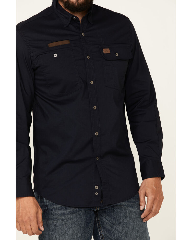 Wrangler Riggs Men's Solid Navy Vented Long Sleeve Button-Down Work Shirt , Navy, hi-res