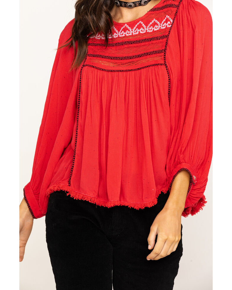 Free People Women's Cyprus Avenue Embroidered Top, Pink, hi-res