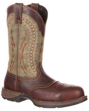 Durango Men's Rebel Western Saddle Boots - Safety Toe, Chocolate, hi-res