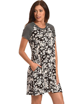 Jody of California Women's Black Floral Dress , Black, hi-res