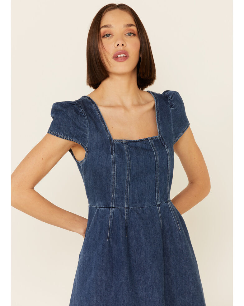 Molly Bracken Women's Blue Denim Tie-Back Dress, Blue, hi-res