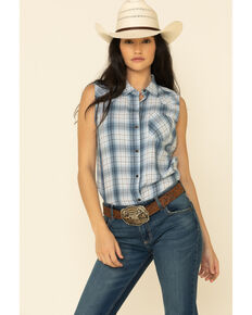 Ariat Women's Blue Plaid Audie Shirt, Blue, hi-res