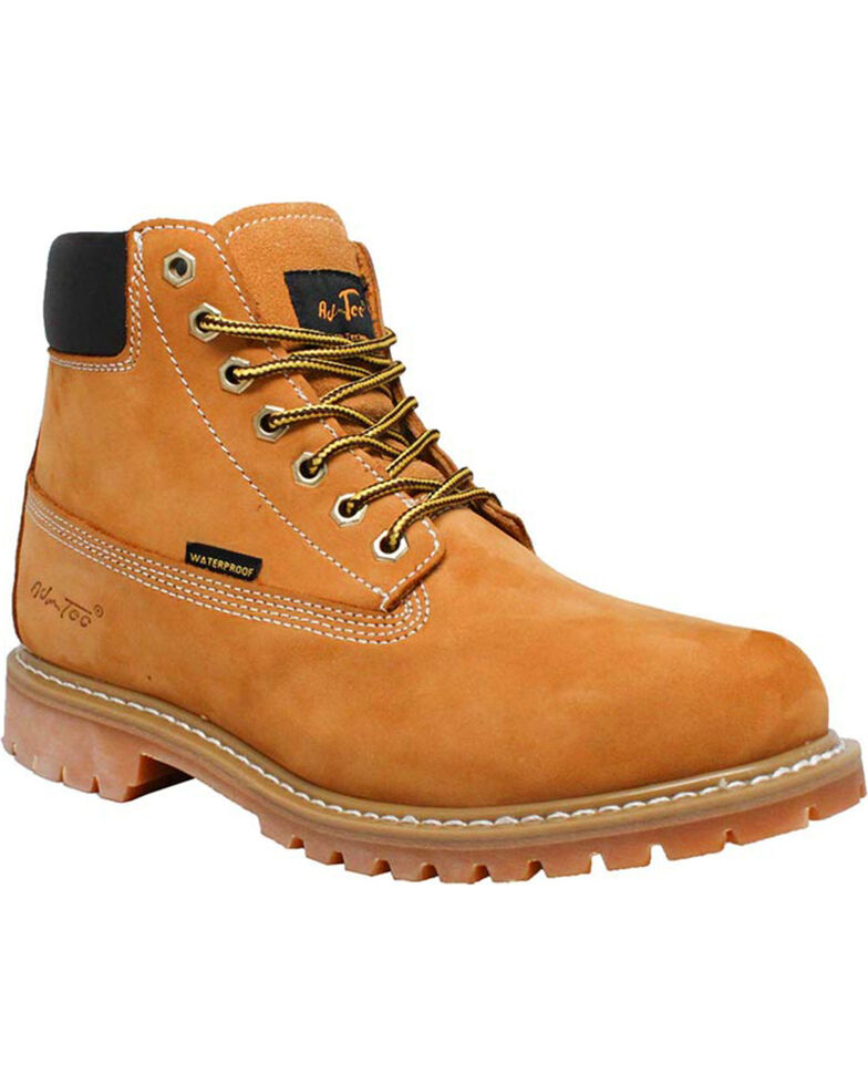 """Ad Tec Youth Boys' 6"""" Waterproof Nubuck Leather Work Boots - Round Toe, Tan, hi-res"""