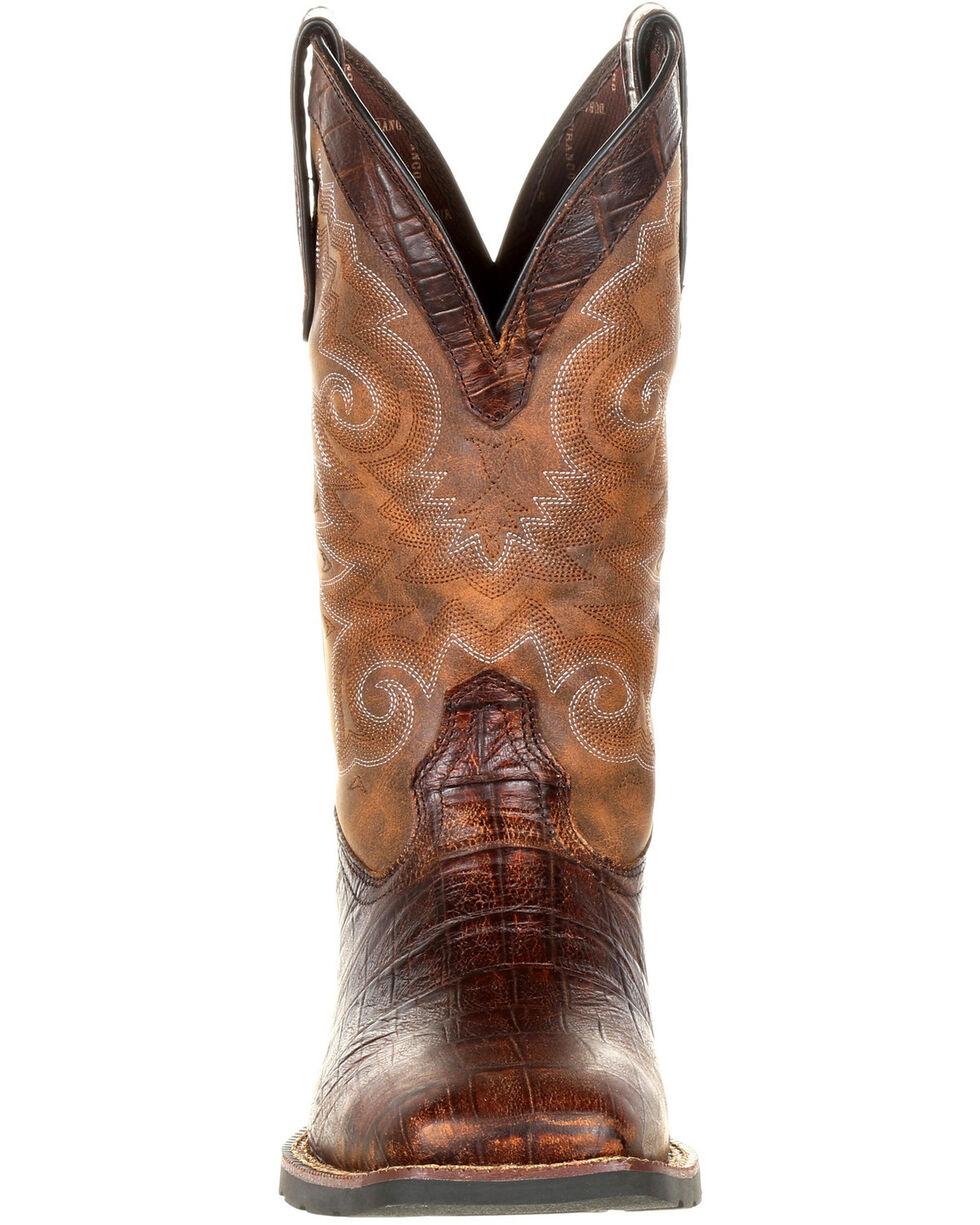 Durango Men's Mustang Gator Embossed Western Boots - Wide Square Toe, Brown, hi-res