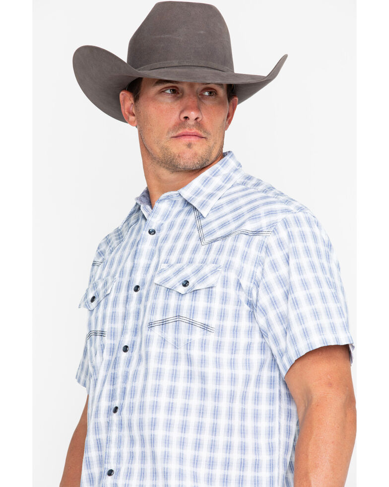 Moonshine Spirit Men's Day Drinking Plaid Short Sleeve Western Shirt, White, hi-res