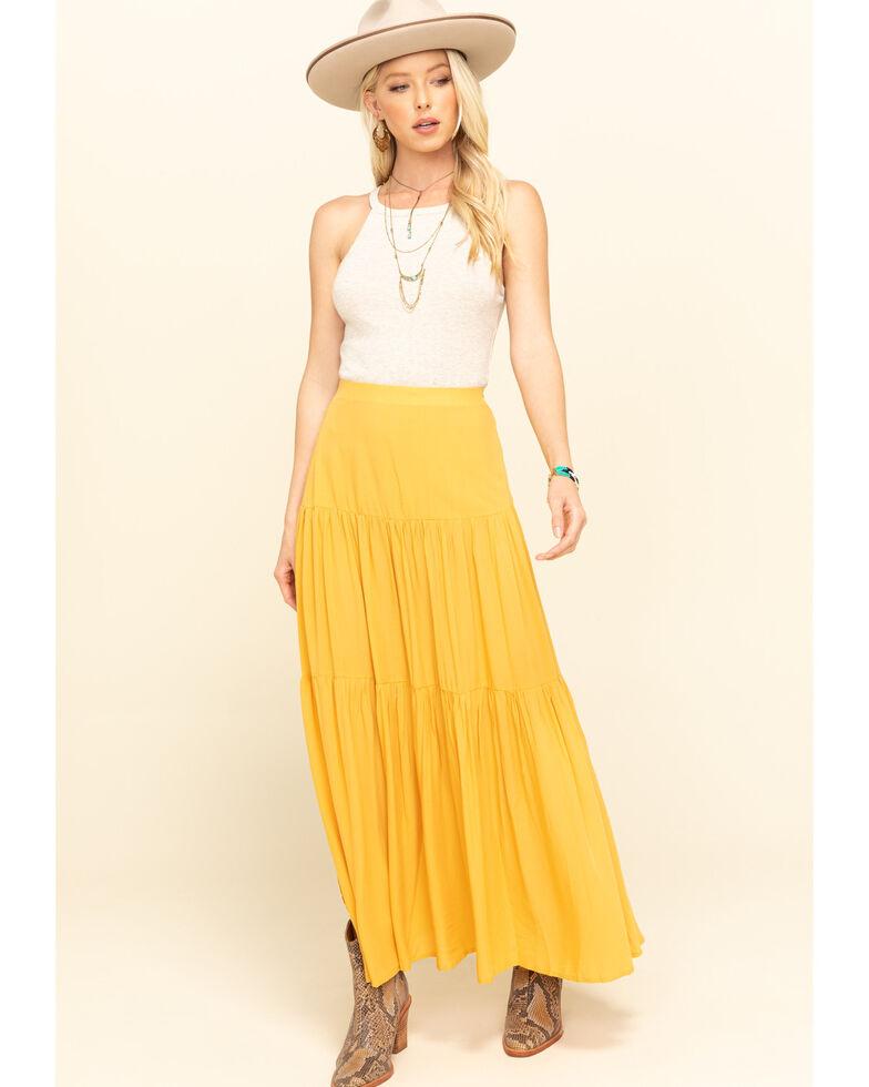 Rag Poets Women's Mustard Lacucciola Tiered Maxi Skirt, Dark Yellow, hi-res