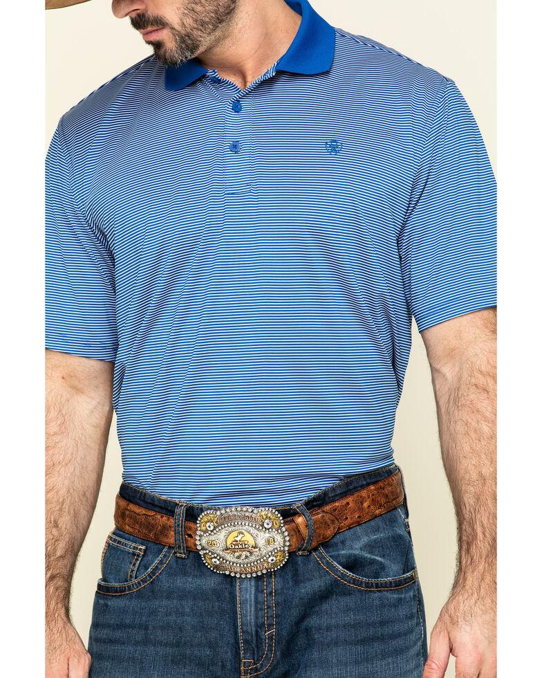 Ariat Men's Blue TEK Micro Stripe Short Sleeve Polo Shirt , Blue, hi-res